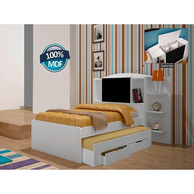 Cama solteiro com auxiliar e ba colorado 100 mdf - Mesa auxiliar de cama ...