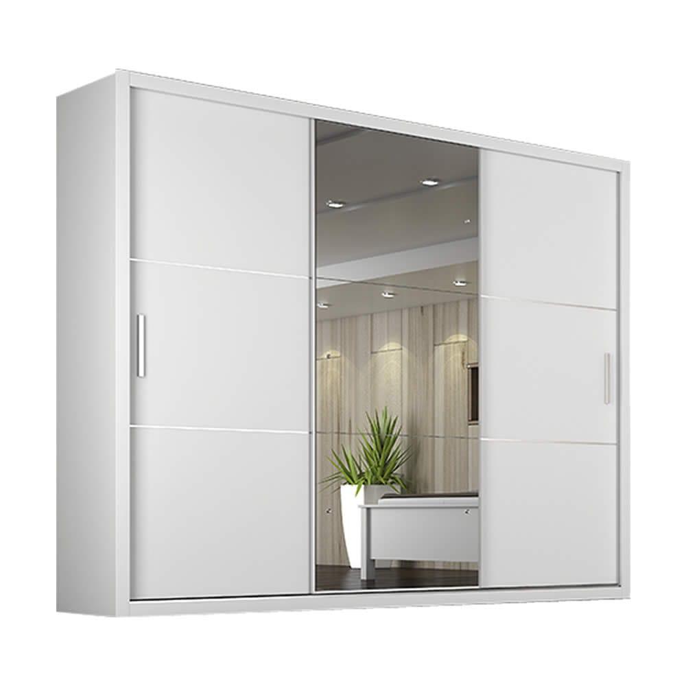 Guarda roupa casal paradizzo c espelho 3 portas de - Precio armario empotrado 2 metros ...