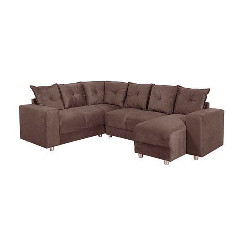 Sala decorada pequena com sofa de canto nesta rea de for Sofa grande sala pequena