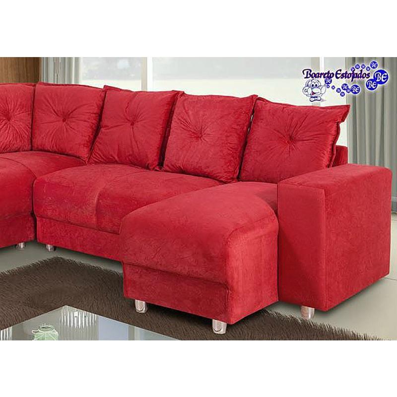 Sof de canto 5 lugares 5070 chaise vermelho loja de for Sofa 5 lugares com chaise