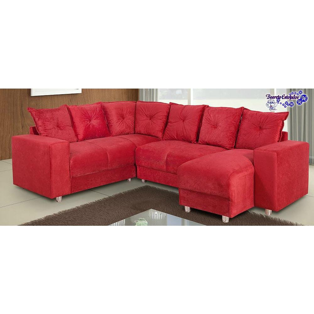 Sof de canto 5 lugares 5070 chaise vermelho loja de for Sofa com chaise 5 lugares