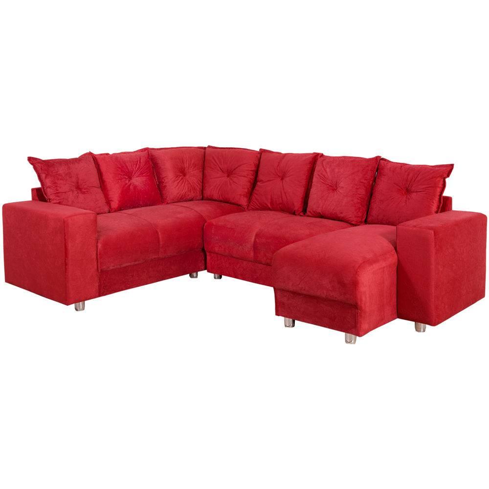 Sofá de Canto 5 Lugares 5070 Chaise - Vermelho - Castelo ...