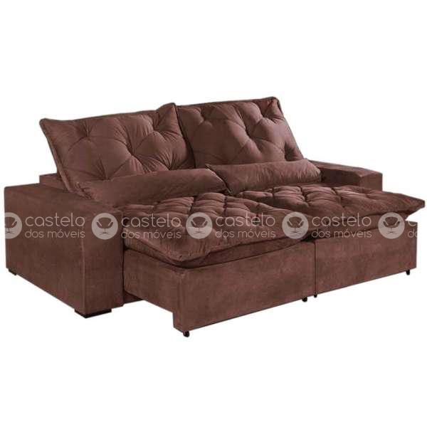 sof retr til e reclin vel 4 lugares elegance tecido suede. Black Bedroom Furniture Sets. Home Design Ideas