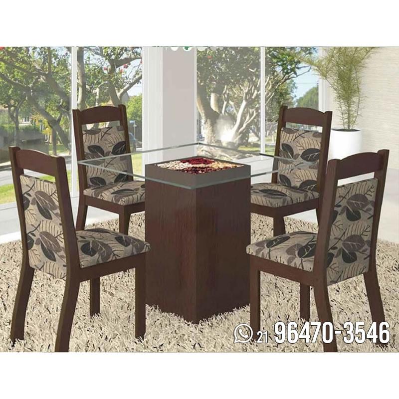 Conjunto Sala De Jantar Mesa Com 4 Cadeiras E Tampo Em Vidro Adri