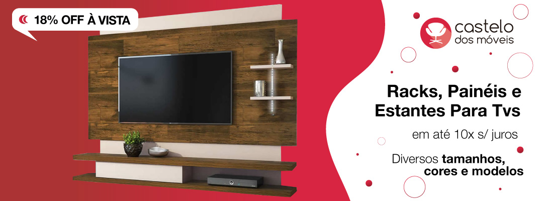 Racks, painéis e estantes para TVs