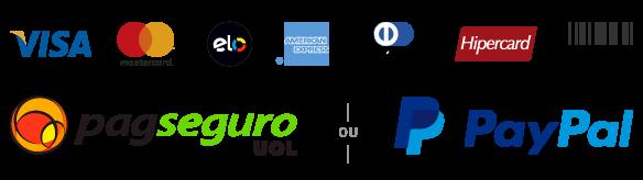 Bandeiras de Cartões de Crédito, PagSeguro e PayPal.